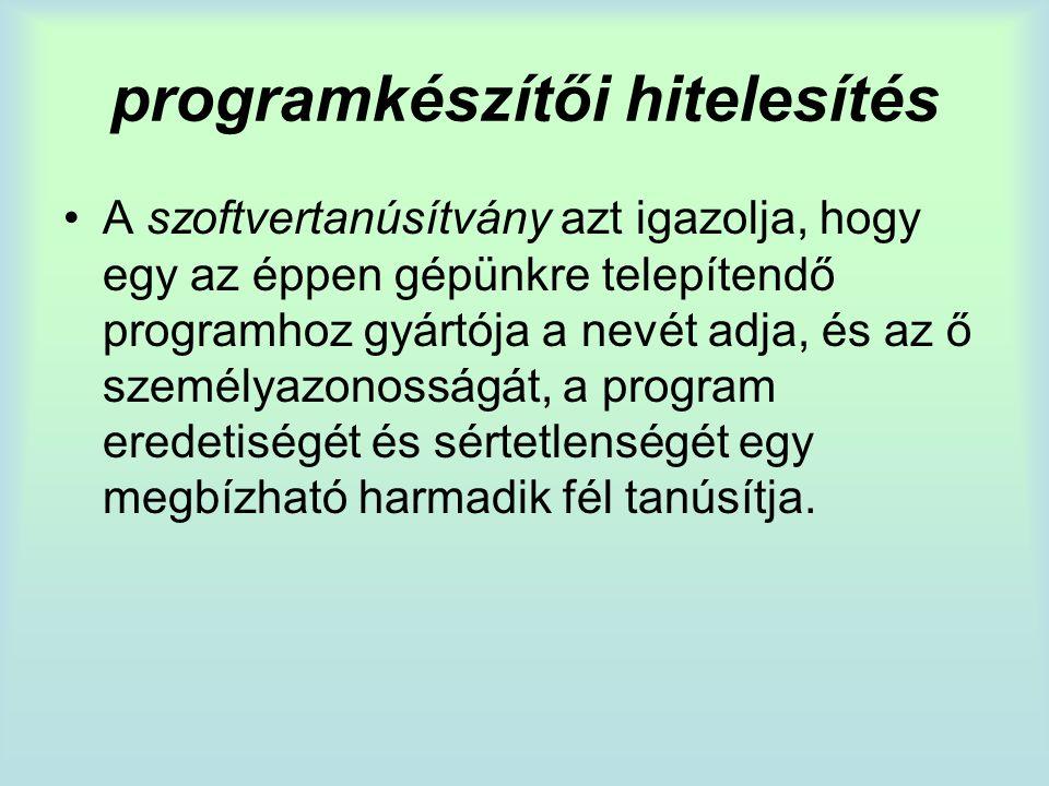 programkészítői hitelesítés