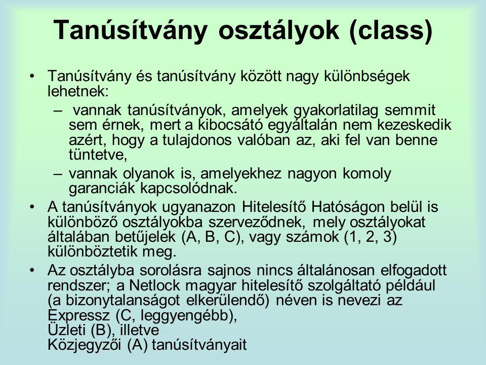 Tanúsítvány osztályok (class)