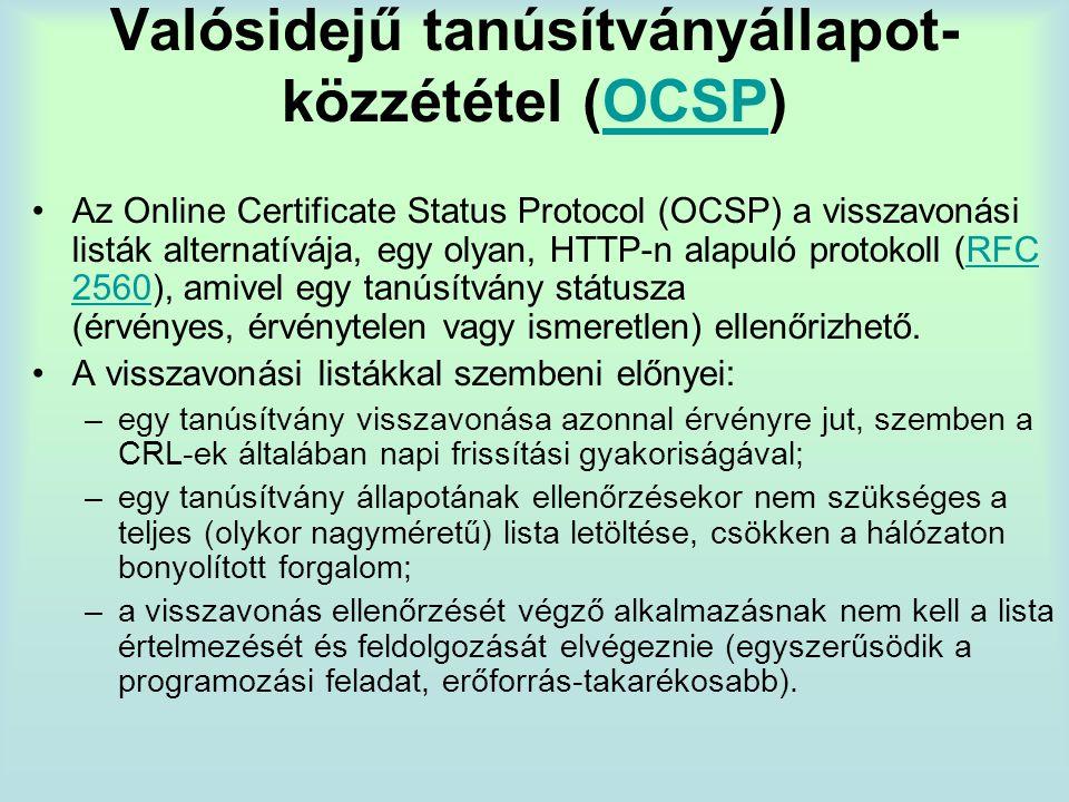 Valósidejű tanúsítványállapot-közzététel (OCSP)