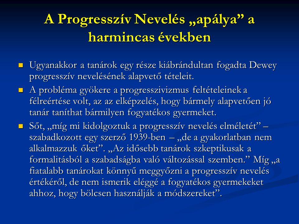 """A Progresszív Nevelés """"apálya a harmincas években"""