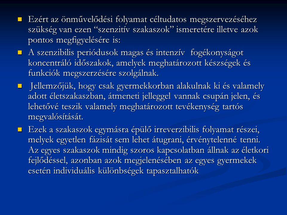 Ezért az önművelődési folyamat céltudatos megszervezéséhez szükség van ezen szenzitív szakaszok ismeretére illetve azok pontos megfigyelésére is: