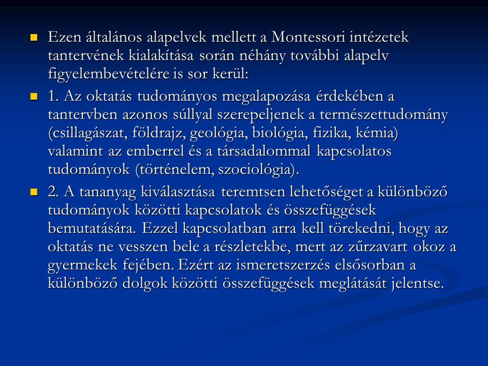 Ezen általános alapelvek mellett a Montessori intézetek tantervének kialakítása során néhány további alapelv figyelembevételére is sor kerül: