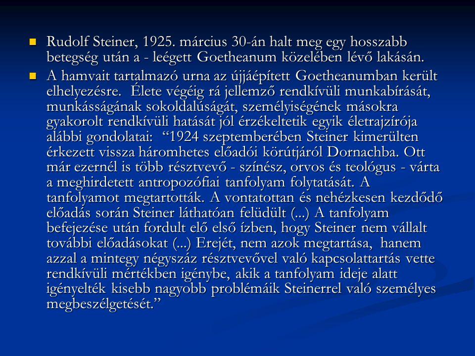 Rudolf Steiner, 1925. március 30-án halt meg egy hosszabb betegség után a - leégett Goetheanum közelében lévő lakásán.