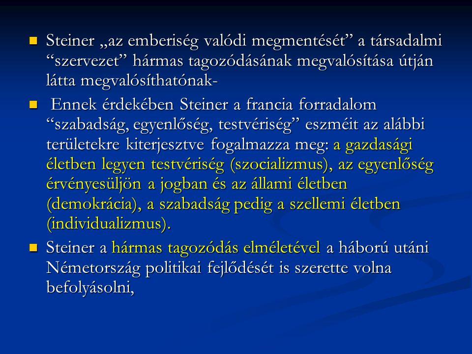 """Steiner """"az emberiség valódi megmentését a társadalmi szervezet hármas tagozódásának megvalósítása útján látta megvalósíthatónak-"""