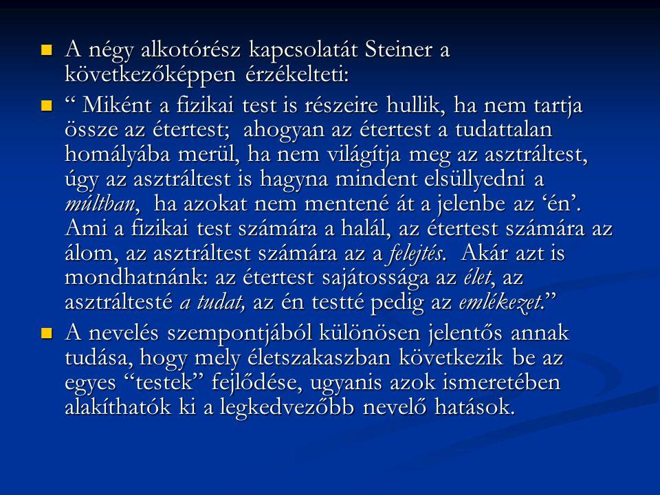 A négy alkotórész kapcsolatát Steiner a következőképpen érzékelteti: