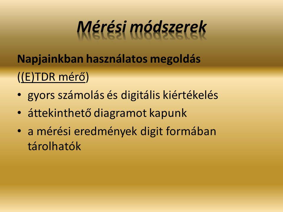 Mérési módszerek Napjainkban használatos megoldás ((E)TDR mérő)