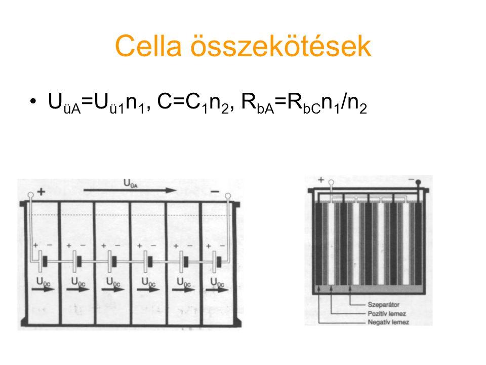 Cella összekötések UüA=Uü1n1, C=C1n2, RbA=RbCn1/n2