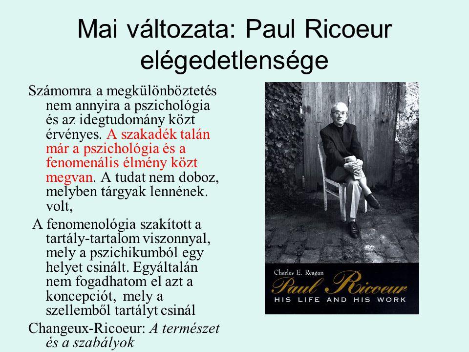 Mai változata: Paul Ricoeur elégedetlensége