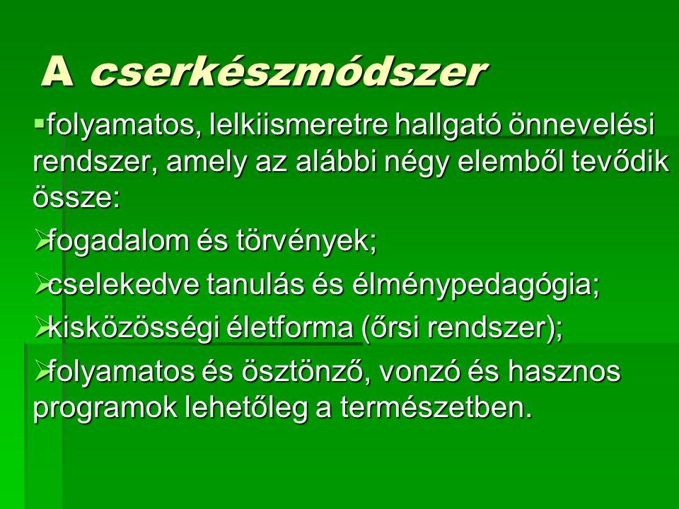 A cserkészmódszer folyamatos, lelkiismeretre hallgató önnevelési rendszer, amely az alábbi négy elemből tevődik össze: