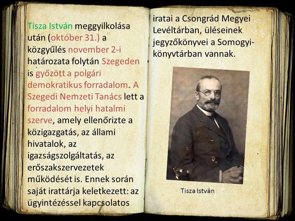 iratai a Csongrád Megyei Levéltárban, üléseinek jegyzőkönyvei a Somogyi-könyvtárban vannak.