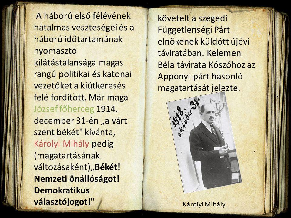 """A háború első félévének hatalmas veszteségei és a háború időtartamának nyomasztó kilátástalansága magas rangú politikai és katonai vezetőket a kiútkeresés felé fordított. Már maga József főherceg 1914. december 31-én """"a várt szent békét kívánta, Károlyi Mihály pedig (magatartásának változásaként)""""Békét! Nemzeti önállóságot! Demokratikus választójogot!"""