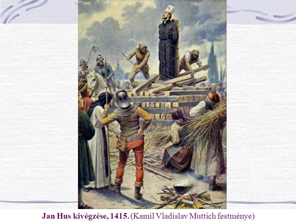 Jan Hus kivégzése, 1415. (Kamil Vladislav Muttich festménye)