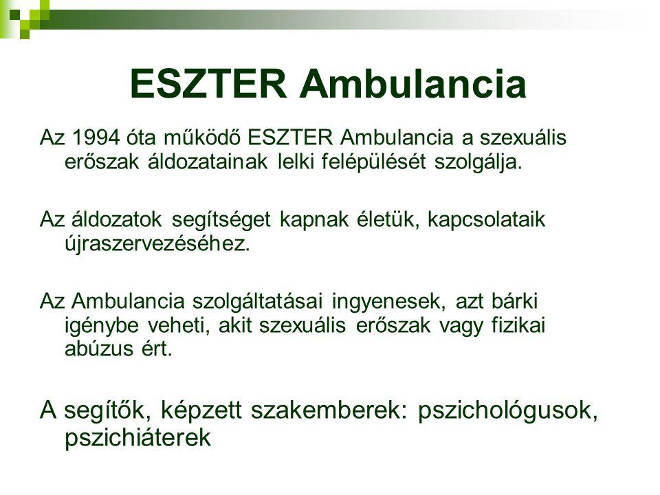 ESZTER Ambulancia Az 1994 óta működő ESZTER Ambulancia a szexuális erőszak áldozatainak lelki felépülését szolgálja.