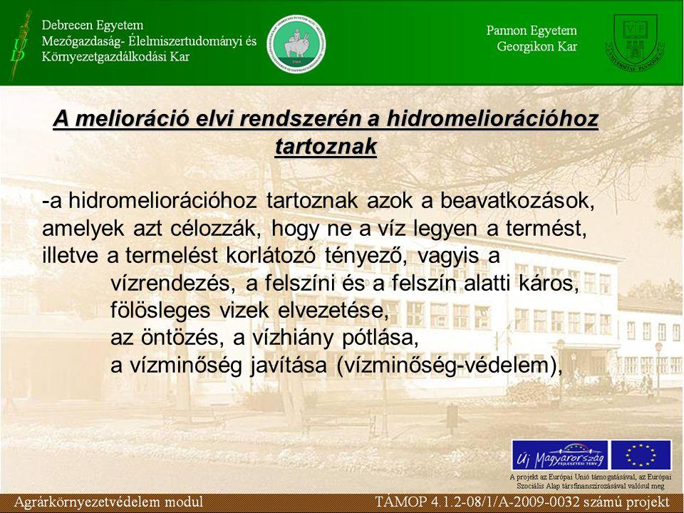A melioráció elvi rendszerén a hidromeliorációhoz tartoznak