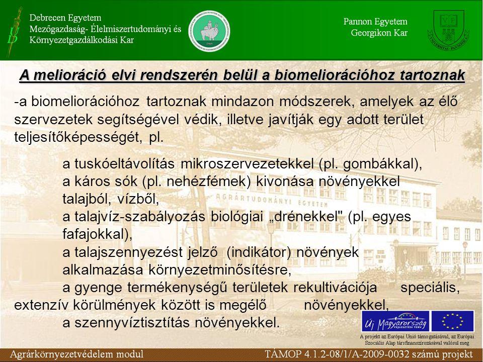 A melioráció elvi rendszerén belül a biomeliorációhoz tartoznak