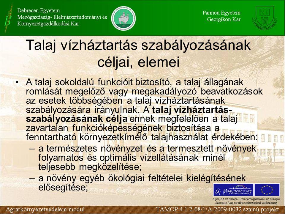 Talaj vízháztartás szabályozásának céljai, elemei