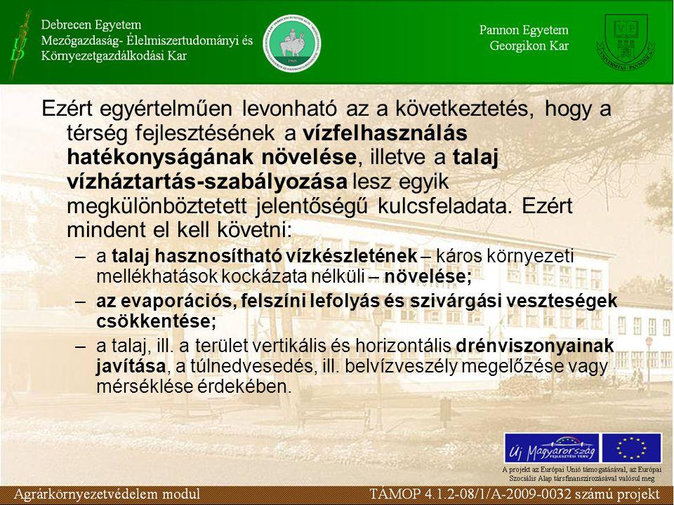 Ezért egyértelműen levonható az a következtetés, hogy a térség fejlesztésének a vízfelhasználás hatékonyságának növelése, illetve a talaj vízháztartás-szabályozása lesz egyik megkülönböztetett jelentőségű kulcsfeladata. Ezért mindent el kell követni: