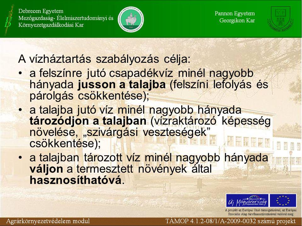 A vízháztartás szabályozás célja: