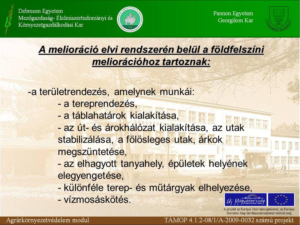 A melioráció elvi rendszerén belül a földfelszíni meliorációhoz tartoznak: