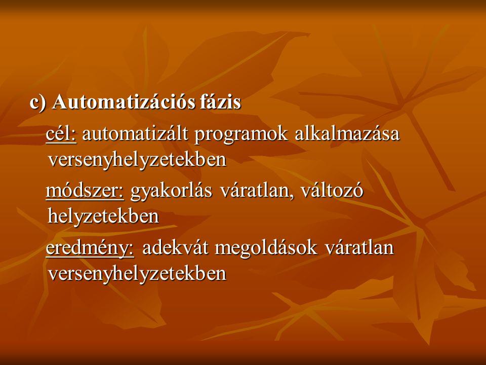 c) Automatizációs fázis