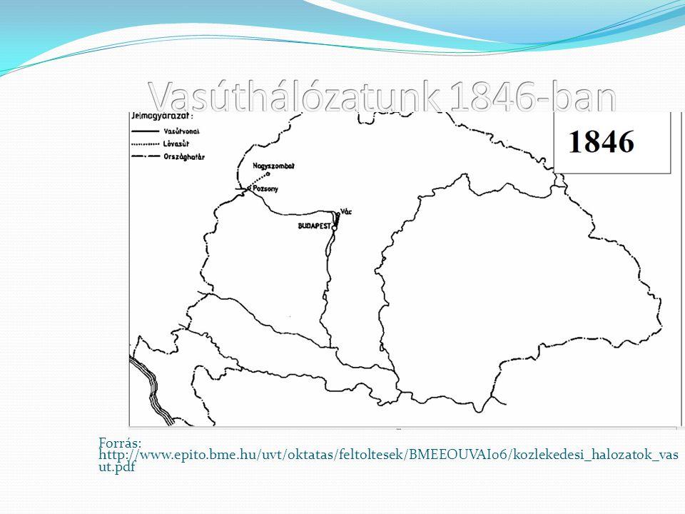 Vasúthálózatunk 1846-ban Forrás: http://www.epito.bme.hu/uvt/oktatas/feltoltesek/BMEEOUVAI06/kozlekedesi_halozatok_vasut.pdf.
