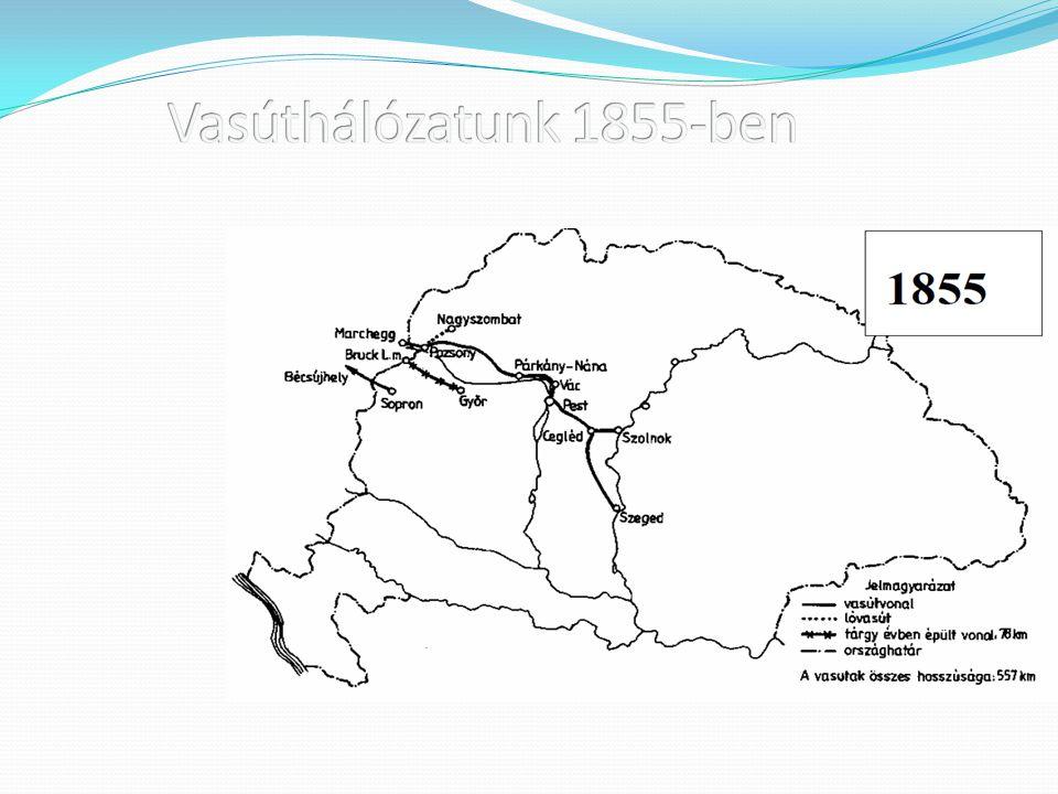 Vasúthálózatunk 1855-ben