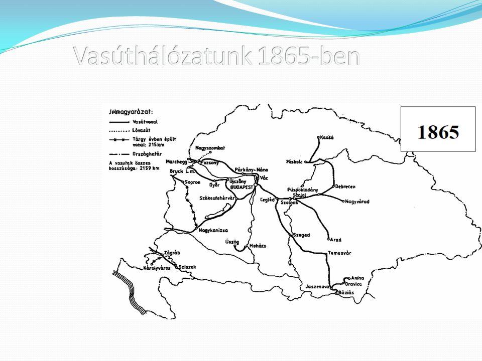 Vasúthálózatunk 1865-ben