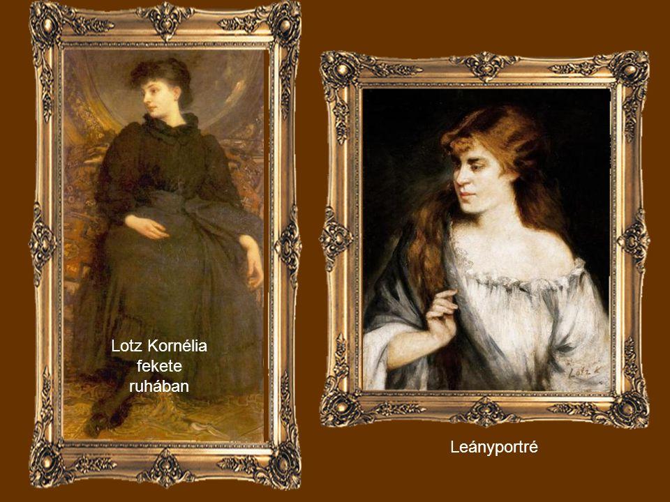 Lotz Kornélia fekete ruhában Leányportré