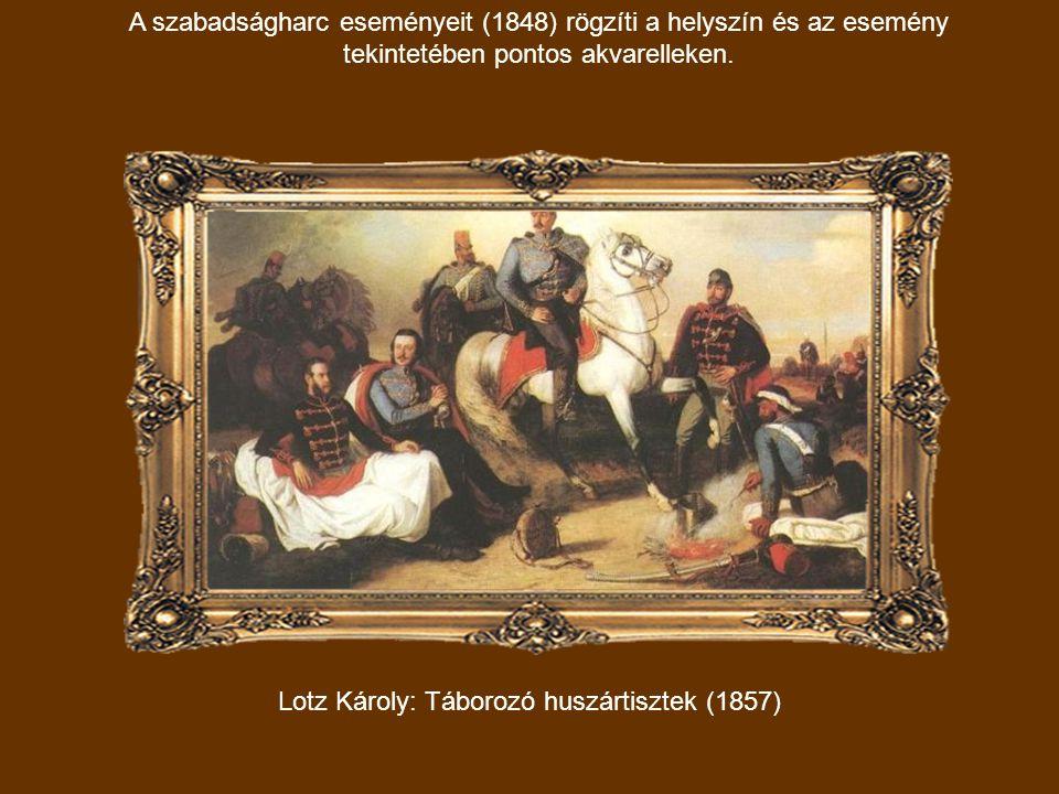 Lotz Károly: Táborozó huszártisztek (1857)