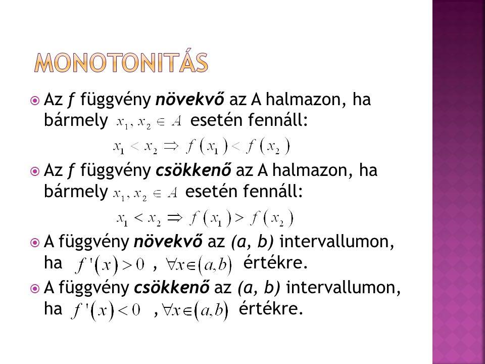 monotonitás Az f függvény növekvő az A halmazon, ha bármely esetén fennáll: