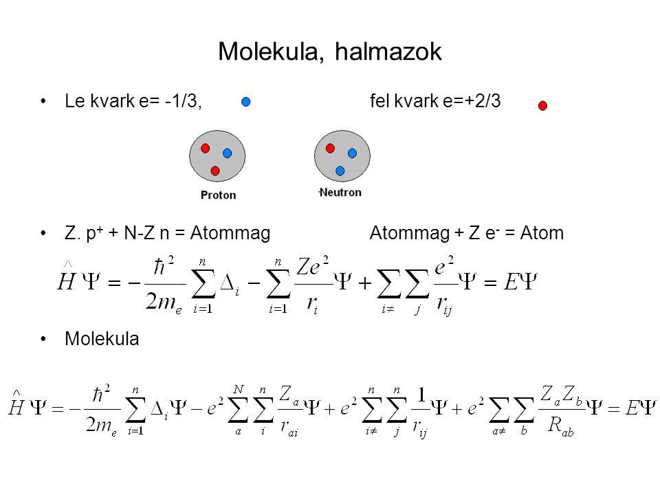 Molekula, halmazok Le kvark e= -1/3, fel kvark e=+2/3