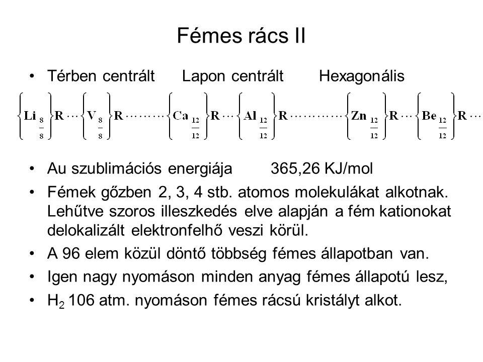 Fémes rács II Térben centrált Lapon centrált Hexagonális