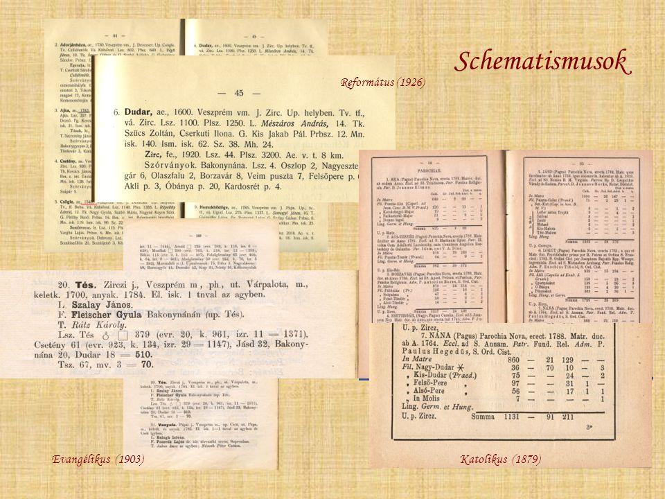 Schematismusok Református (1926) Evangélikus (1903) Katolikus (1879)