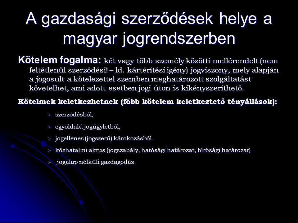 A gazdasági szerződések helye a magyar jogrendszerben