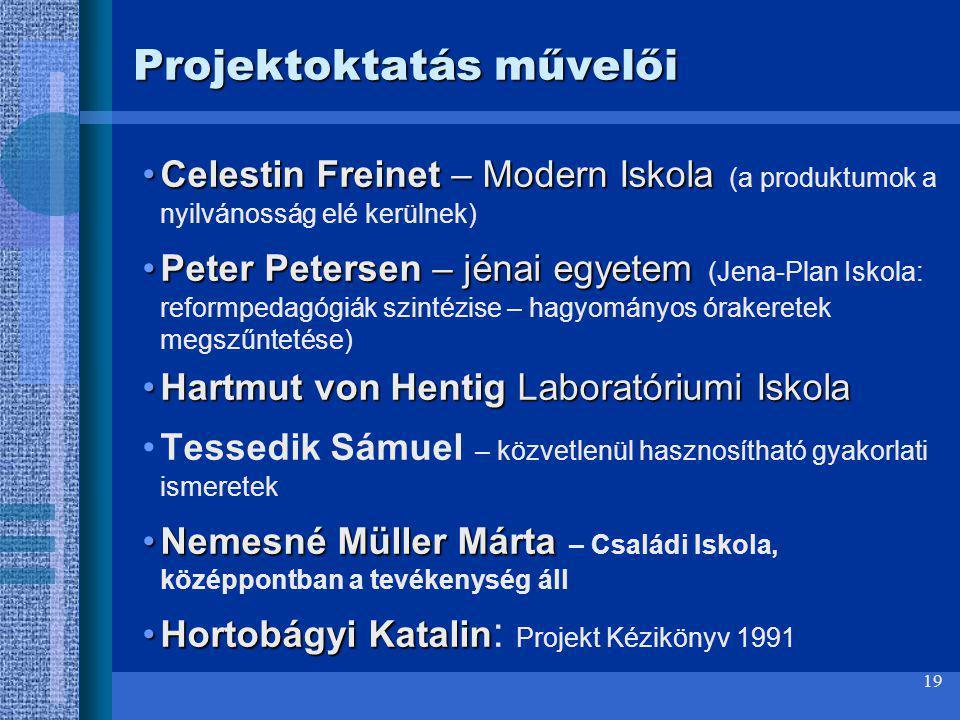 Projektoktatás művelői