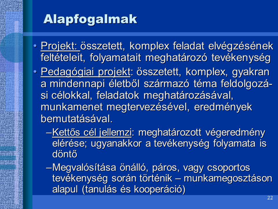 Alapfogalmak Projekt: összetett, komplex feladat elvégzésének feltételeit, folyamatait meghatározó tevékenység.