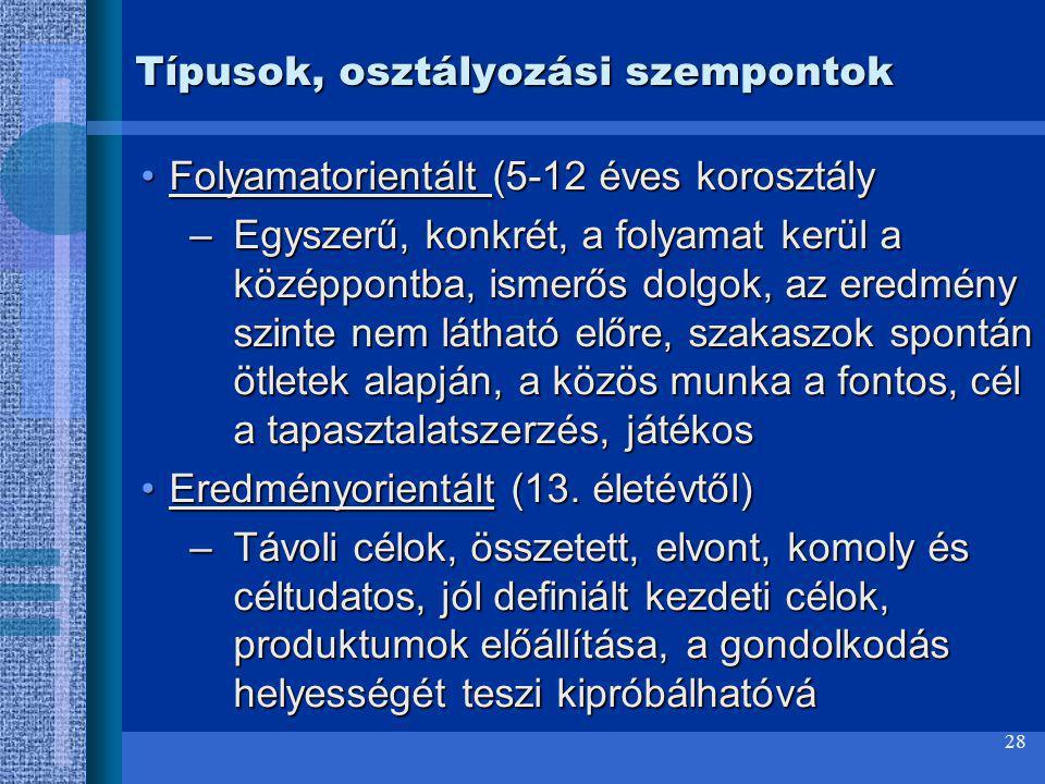 Típusok, osztályozási szempontok