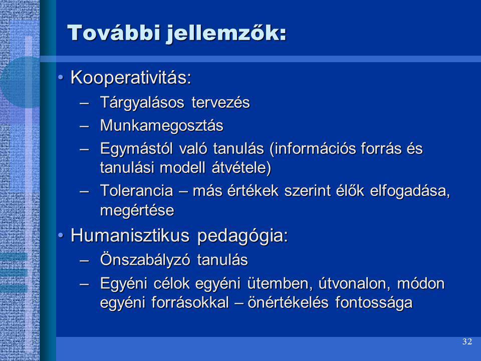 További jellemzők: Kooperativitás: Humanisztikus pedagógia: