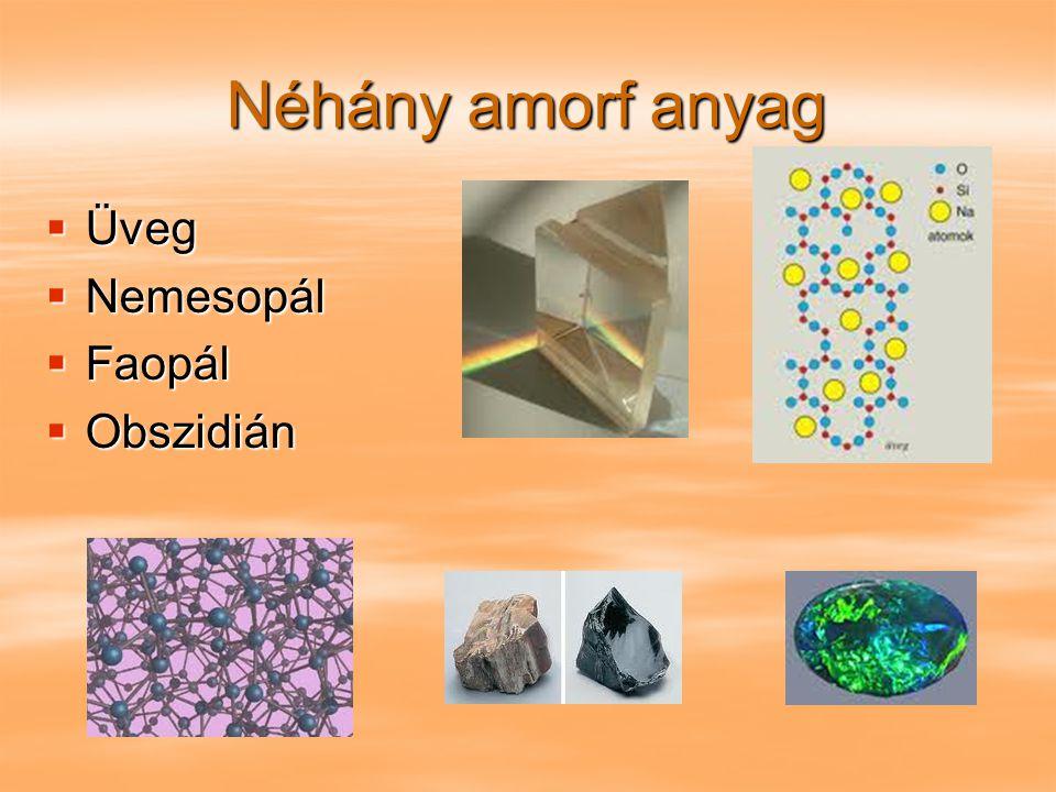 Néhány amorf anyag Üveg Nemesopál Faopál Obszidián