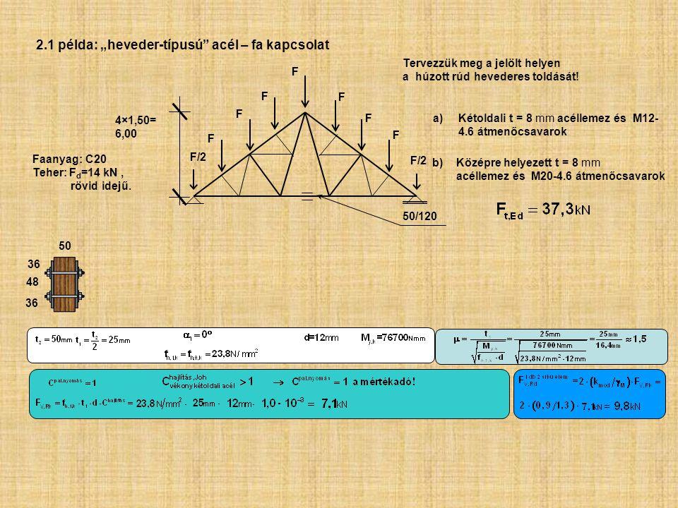 """2.1 példa: """"heveder-típusú acél – fa kapcsolat"""