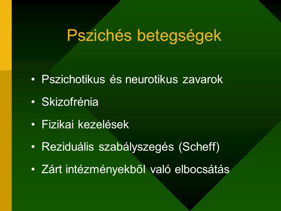 Pszichés betegségek Pszichotikus és neurotikus zavarok Skizofrénia