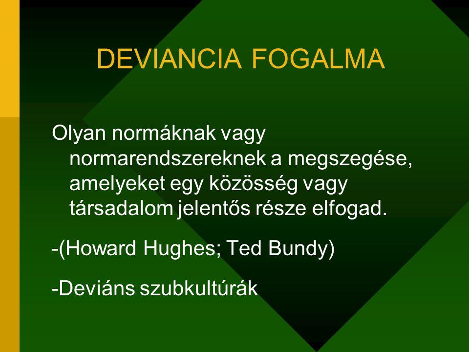 DEVIANCIA FOGALMA Olyan normáknak vagy normarendszereknek a megszegése, amelyeket egy közösség vagy társadalom jelentős része elfogad.