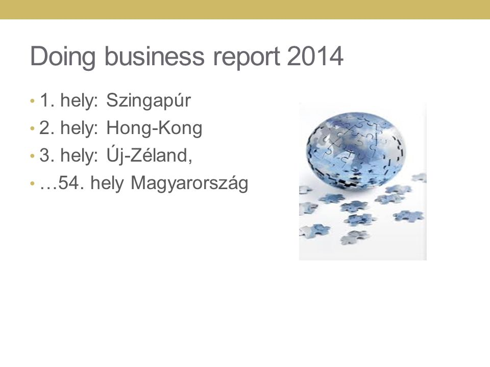 Doing business report 2014 1. hely: Szingapúr 2. hely: Hong-Kong