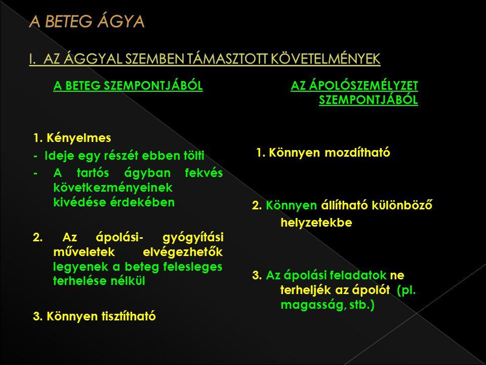 A BETEG ÁGYA I. AZ ÁGGYAL SZEMBEN TÁMASZTOTT KÖVETELMÉNYEK