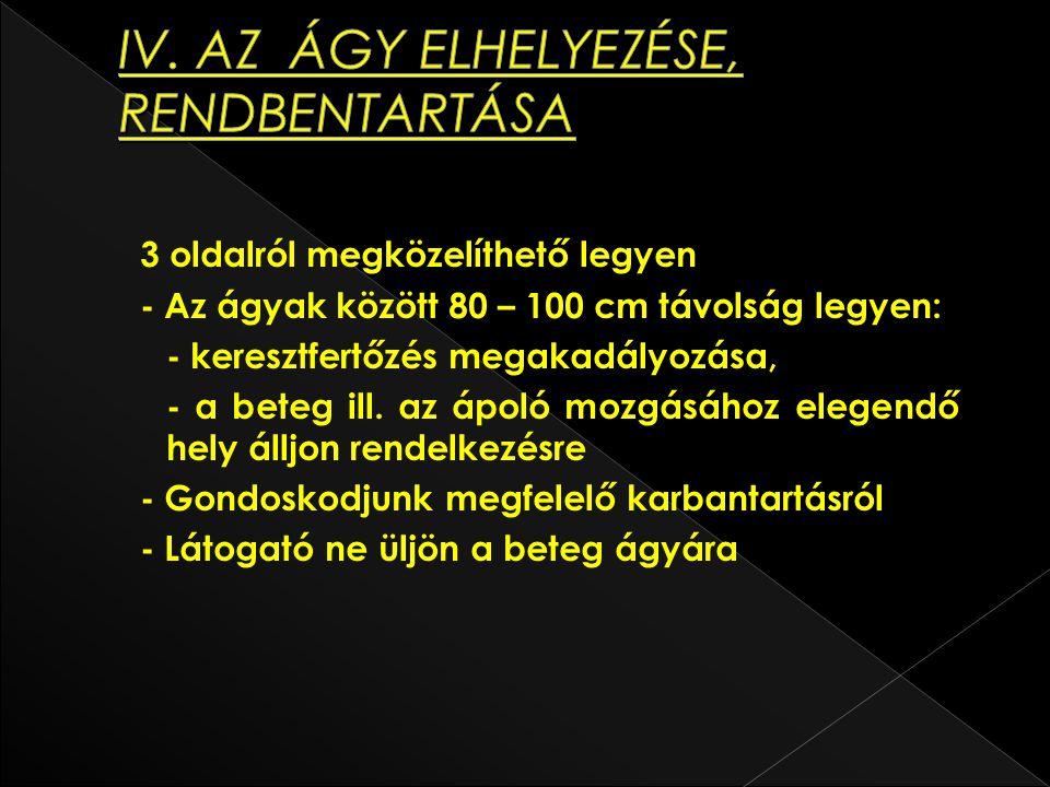 IV. AZ ÁGY ELHELYEZÉSE, RENDBENTARTÁSA