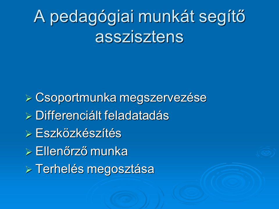 A pedagógiai munkát segítő asszisztens