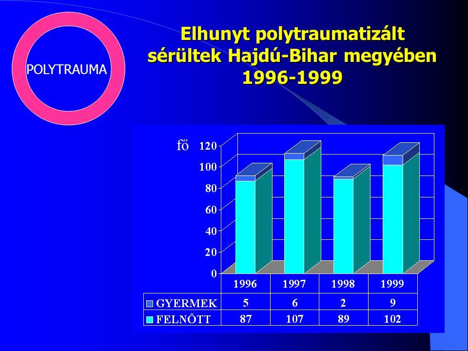 Elhunyt polytraumatizált sérültek Hajdú-Bihar megyében 1996-1999