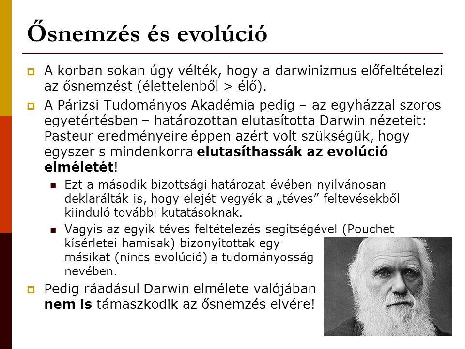 Ősnemzés és evolúció A korban sokan úgy vélték, hogy a darwinizmus előfeltételezi az ősnemzést (élettelenből > élő).