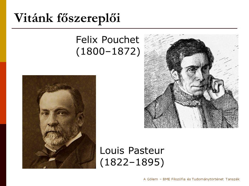 Vitánk főszereplői Felix Pouchet (1800–1872) Louis Pasteur (1822–1895)