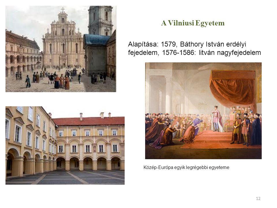 A Vilniusi Egyetem Alapítása: 1579, Báthory István erdélyi fejedelem, 1576-1586: litván nagyfejedelem.